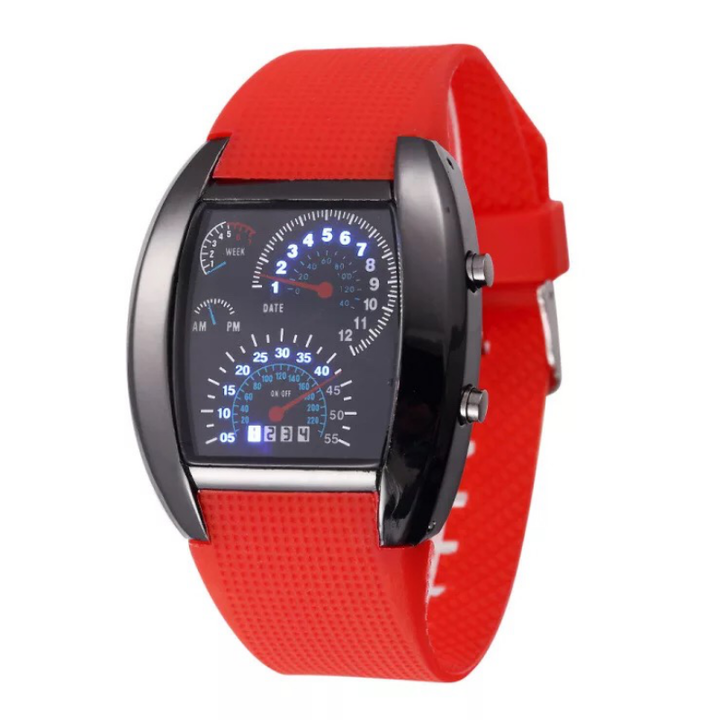 Fashion Smart Watch LED Wrist Watch Digital Creative Dashboard Sport Wristwatch For Men Women red one size