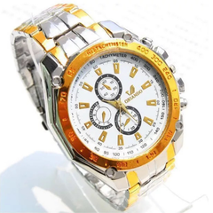 Fashion Wrist Watch Men Male Luxury Quartz Stainless Steel Wristwatches Gentlemen Valentines Gift white and gold one size