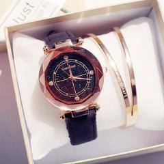 Fashion Wrist Watch Women Men Rhinestone Starry Sky Wristwatches Creative Luxury Quartz Watches black watchband one size