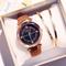 Fashion Wrist Watch Women Men Rhinestone Starry Sky Wristwatches Creative Luxury Quartz Watches brown watchband one size