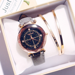 Fashion Wrist Watch Women Men Rhinestone Starry Sky Wristwatches Creative Luxury Quartz Watches grey watchband one size