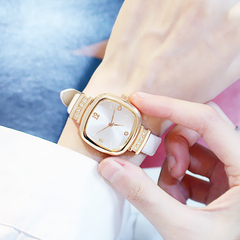 Fashion Wrist Watch Women Ladies Rhinestone Square Candy Style Wristwatches Quartz Waterproof white one size