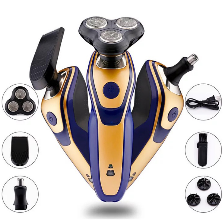 3 In 1 Rechargeable Electric Shaver for Beard Nose Hair Face Eyebrow 3D Blade Heads Shaving Razors as picture 14.5*7*18.5 cm
