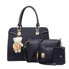 sweet life Handbag 4 Pcs/set Classic Fashion Women Luxury Noble Elegant Gold Printing Handbags black one size