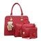 sweet life Handbag 4 Pcs/set Classic Fashion Women Luxury Noble Elegant Gold Printing Handbags red one size
