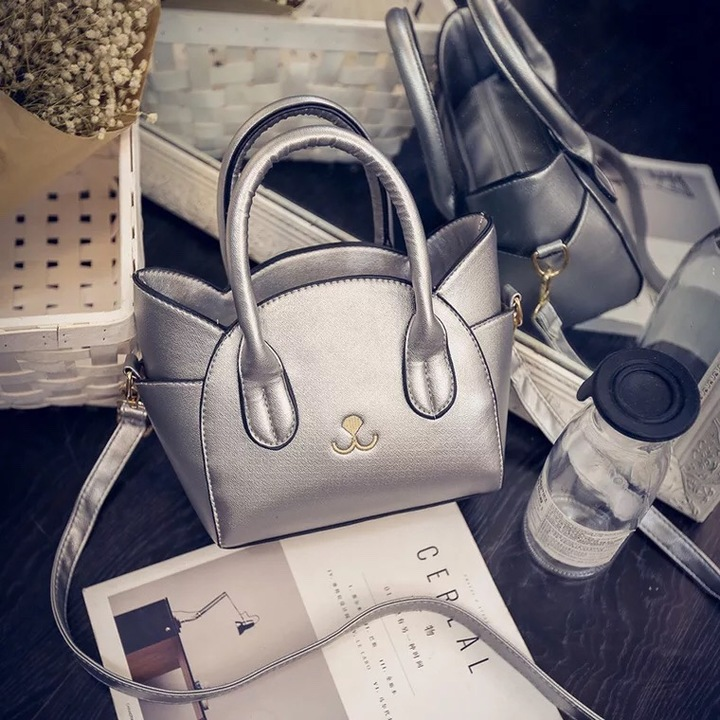 sweet life Women's Handbag Fashion Cute Lovely Cat Design for Girl Lady Women Lovers Gift silver one size