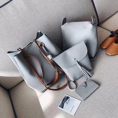 handbag with wooden ball and tessel light grey 4 pcs set