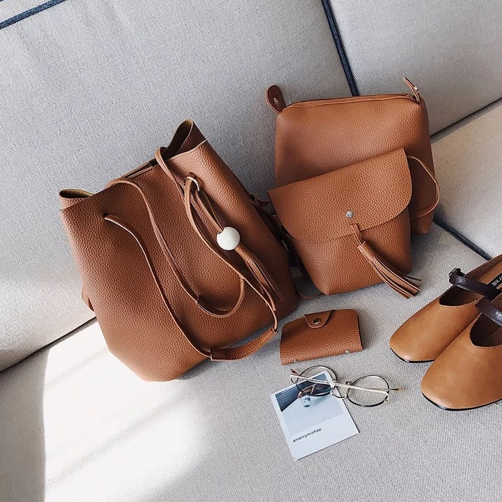 handbag with wooden ball and tessel brown 4 pcs set