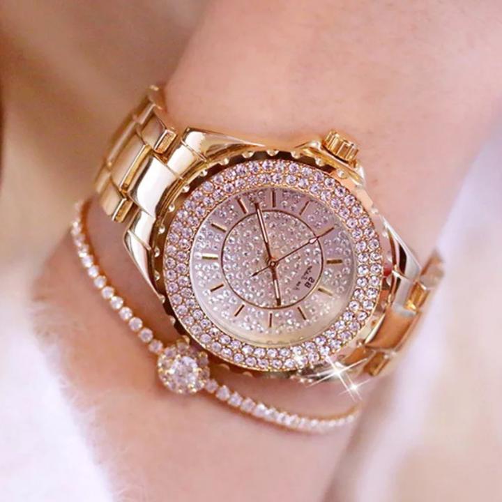 Women Fashion Wrist Watch Rhinestone Shiny Diamond Wristwatches Classic Luxury Quartz Lady Watches gold one size