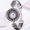 Fashion Wrist Watch Women Ladies Classic Wristwatches Flower Diamond Style Bracelet Watch Gift silver one size