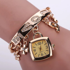 Fashion Wrist Watch Women Bracelet Jewelry Jewellery Wristwatches Flower Pendant Square Lady Watch gold one size