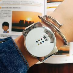 Men Women Creative Wrist Watch Fashion Simple Casual Round Dial Couples Lovers Quartz Wristwatches white one size