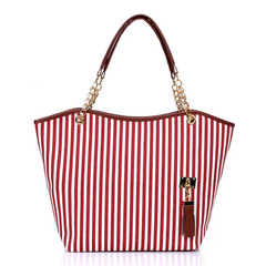 Fashion Women Handbags Ladies Canvas Shoulder Bags Striped bag Ladies Chain Bag Women Large  Bags red stripe large capacity