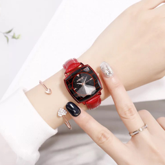 Wristwatch for Women Lady Fashion Wrist Watch Square Dial Leather Watchband Shiny Starry Sky Design red one size
