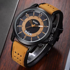 Men Fashion Casual Wristwatch Sport Quartz Wrist Watch Business Watch Men Gift light brown one size
