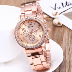 GENEVA Brand Fashion Wrist Watch Women Rhinestone Wristwatches Ladies Classic Luxury Quartz Watches rose gold