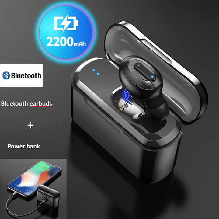 Bluetooth Wireless Earphone Earbuds Headset Power Bank For iPhone Android Smart Phones black earbud + 2200mAH power bank as picture