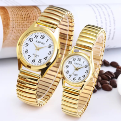 2 Pcs Men Women Wrist Watch Fashion Casual Elastic Watchband Couples Lovers Classic Wristwatches gold 2 pcs