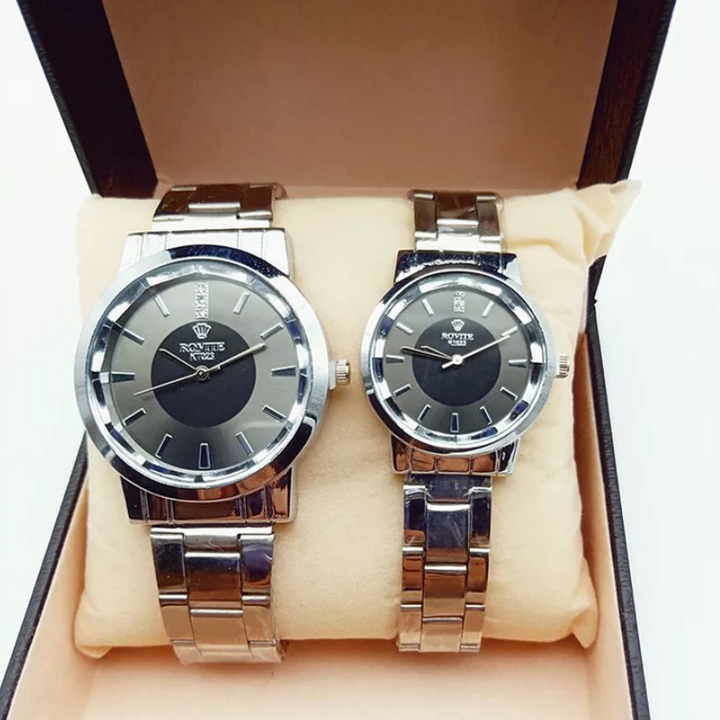 2 Pcs Men Women Wrist Watch Fashion Casual Stainless Steel Quartz Couples Lovers Wristwatches light brown as picture 2pcs (1 male and 1 female)