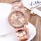 GENEVA Brand Fashion Wrist Watch Women Rhinestone Wristwatches Ladies Classic Luxury Quartz Watches rose gold one size