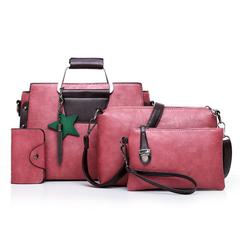 SL Women's Handbag 4 Pcs/Set 5 Colors Fashion Modern Star and Tassels Style High quality PU leather pink one size