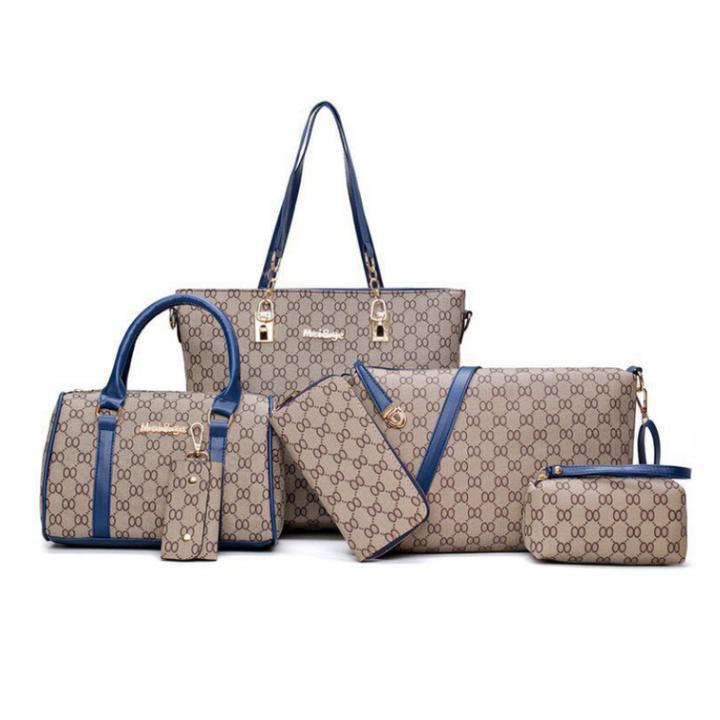 SL Women's Fashion Handbag Luxury 6 Pcs/Set 5 Colors High Quality Practical  Noble Elegant Style blue one size