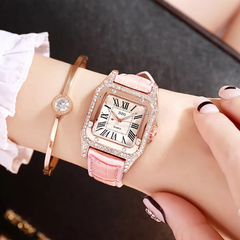 Fashion Wrist Watch Wristwatch For Women Square Dial Shiny Synthetic Diamond PU Leather Watchband pink one size