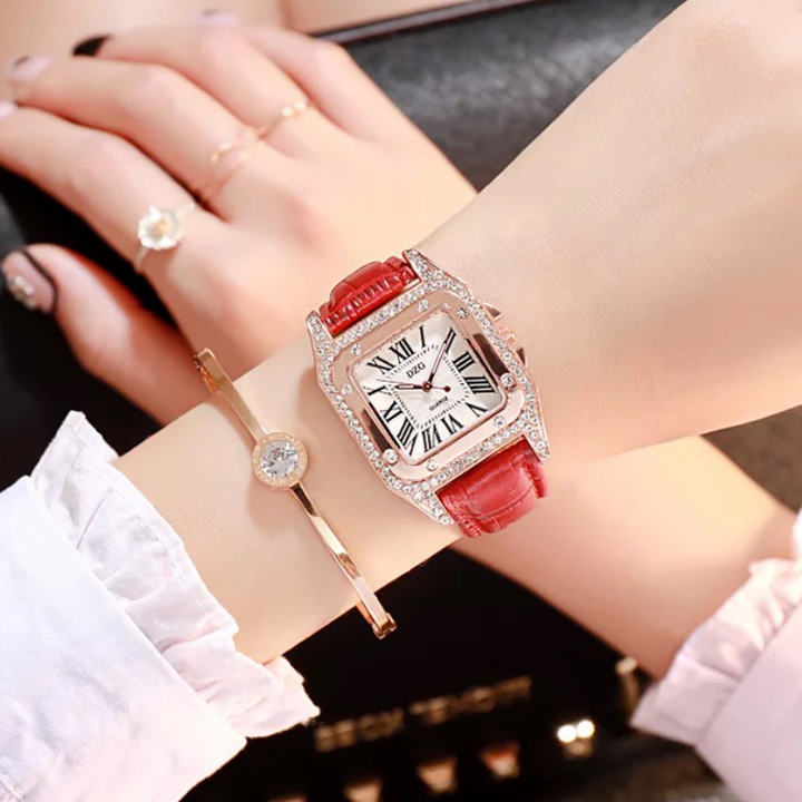 Fashion Wrist Watch Wristwatch For Women Square Dial Shiny Synthetic Diamond PU Leather Watchband red one size