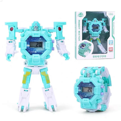 Accutron Electronic Watch Wristwatch Wrist Watch for Kids Children Transformer Toy Watch Gift blue 8*8*5cm (watch size)