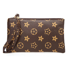 Handbag for Women Lady Portable Wallet Purse Classic Style Printing Bag brown as picture 18*10*2cm