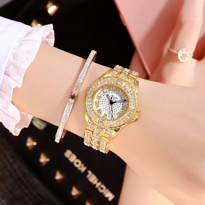 Women Fashion Wrist Watch Shiny Rhinestone Diamond Wristwatches Ladies Luxury Quartz Watches golden one size