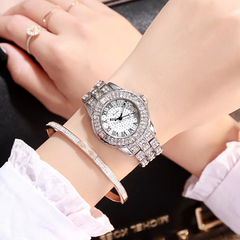 Women Fashion Wrist Watch Shiny Rhinestone Diamond Wristwatches Ladies Luxury Quartz Watches golden one size