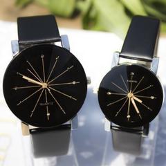 Men Women Wrist Watch Fashion Casual PU Leather Strap Round Dial Couples Quartz Sport Wristwatches black-for man