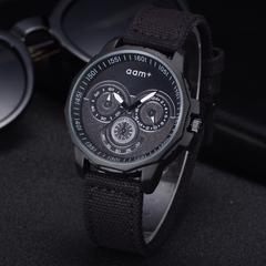 Fashion Wrist Watch Men Women Casual Creative Design Canvass Strap Round Dial  Quartz Wristwatch black one size
