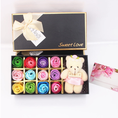 Rose Flowers Gift Box Artificial Rose Soap Flowers with Bear Lipstick Gift for Valentine's Day colorful flowers with bear each style as described