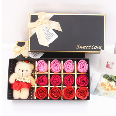 Rose Flowers Gift Box Artificial Rose Soap Flowers with Bear Lipstick Gift for Valentine's Day red and pink flowers with bear each style as described