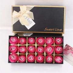 Rose Flowers Gift Box Artificial Rose Soap Flowers with Bear Lipstick Gift for Valentine's Day gradient rose color flowers each style as described