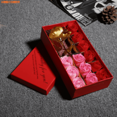Rose Flowers Gift Box Artificial Rose Soap Flowers with Bear Lipstick Gift for Valentine's Day red flowers with gold rose each style as described