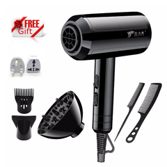 Hairdryer 2200W 7 Pcs Set Professional Electric Hair Dryer For Salon and Household Use Anion b-black one size