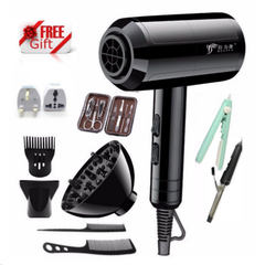 Hairdryer 2200W Luxury 10 Pcs Set Professional Electric Hair Dryer For Salon and Household Use Anion b-black 10 pcs set