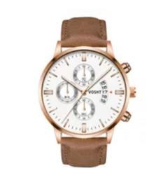 Men Watch leather strap Stainless Steel Good Quartz Luxury Business Man Wristwatch Valentines Gift white and brown 3 one size