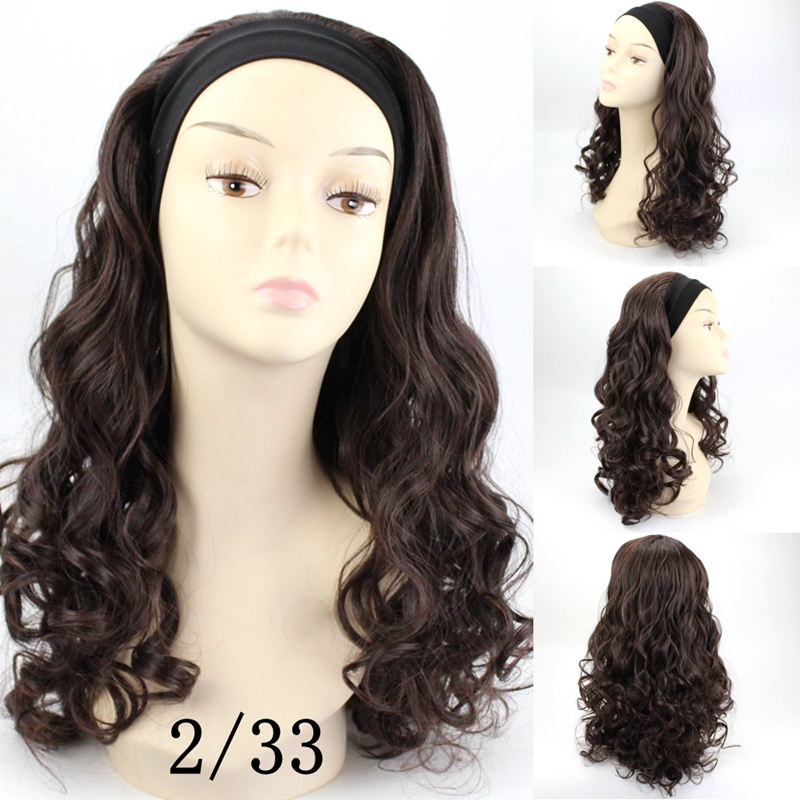 e87e6572726 20inch Synthetic Half Wig Long Curly Hair Wigs With Headbands Natural Cut  Hair Style For Women 8# 20 Inch