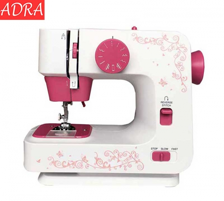 ADRA Automatic Double Thread Mini Sewing Machine Portable Double Speed 12 Stitches Lighting Lamp UK Red