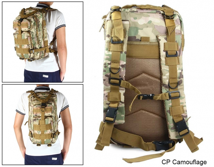 ADRA 3P Tactical Military Backpack Oxford Outdoor Sport Bag for Camping Traveling Hiking Trekking CP 30L