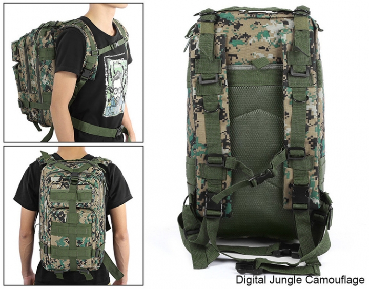 ADRA 3P Tactical Military Backpack Oxford Outdoor Sport Bag for Camping Traveling Hiking Trekking Digital Jungle 30L