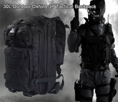 ADRA 3P Tactical Military Backpack Oxford Outdoor Sport Bag for Camping Traveling Hiking Trekking Black 30L