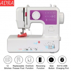 ADRA Home Tool Portable Double Speed Automatic Thread Mini Sewing Machine with Lighting Lamp UK Plug purple