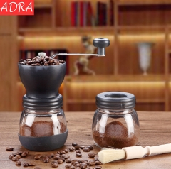 ADRA Conical Burr Mill Manual Spice Herbs Hand Grinding Machine Coffee Bean Grinder with Seal Pot Black One Size