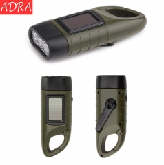 ADRA Portable Solar Flashlight With Hand Crank Mountaineering Buckle For Cycling Self-defense As Pictures One Size