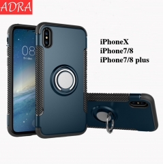 ADRA Mobile Case Magnetic Car Holder Ring Bracket Water-proof iPhone6 7/8 iPhoneX Cases Black iPhone X